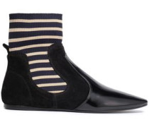 Suede, Patent-leather And Stretch-knit Sock Boots Black