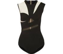 Cutout mesh-paneled stretch-knit bodysuit