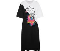 Pintucked printed cotton-jersey midi dress