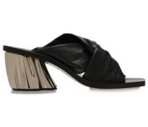 Twisted Leather Mules Black