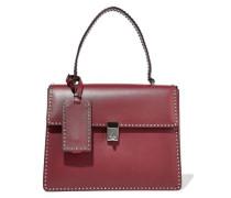 Stud Stitching Leather Shoulder Bag Grape Size --