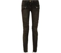 Moto-style faded low-rise skinny jeans