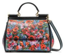 Floral-print Textured-leather Shoulder Bag Red Size --