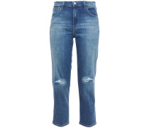 Woman Cropped Distressed Faded High-rise Slim-leg Jeans Mid Denim