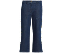 Cropped button-detailed high-rise straight-leg jeans