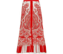 Paisley-print silk crepe de chine midi skirt