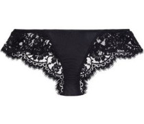 Satin-paneled corded lace low-rise briefs