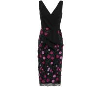 Floral-appliquéd Crepe And Lace Dress Magenta