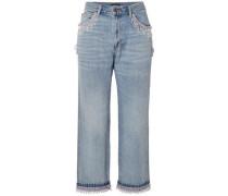 Cropped Bead-embellished Boyfriend Jeans Light Denim  5