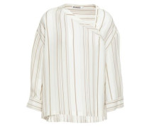 Woman Oversized Striped Twill Blouse Ivory