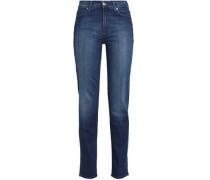Faded mid-rise slim-leg jeans