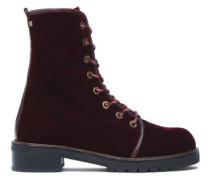 Lace-up Velvet Ankle Boots Merlot