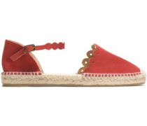Scalloped Laser-cut Suede Espadrilles Red