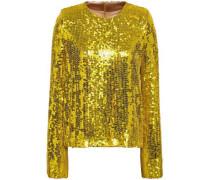 Clara Sequined Silk Top Yellow
