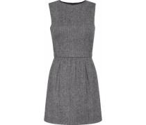 Woman Herringbone Wool-blend Mini Dress Gray