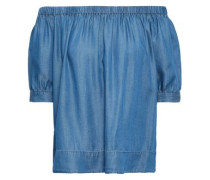 Off-the-shoulder Tencel-chambray Top Light Blue