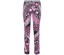 Printed cotton-blend skinny pants