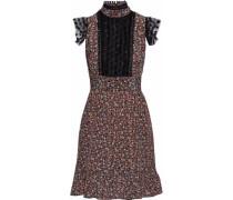 Point d'esprit-trimmed floral-print crepe de chine mini dress