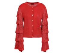Fringed Metallic Stretch-knit Cardigan Red
