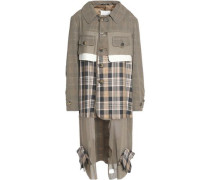 Distressed Checked Wool And Cotton-blend Twill Hooded Trench Coat Taupe