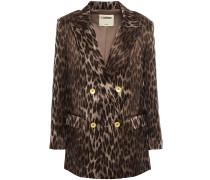 Woman Taryn Double-breasted Leopard-print Silk-satin Blazer Army Green