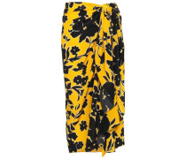 Printed Silk Crepe De Chine Wrap Skirt Yellow