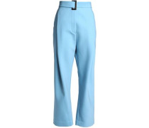 Belted Woven Wide-leg Pants Light Blue