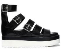 Buckled leather platform sandals