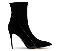 Kora Patent-leather And Suede-paneled Sock Boots Black