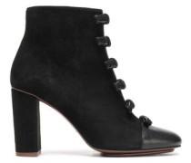 Gisele Bow-embellished Suede Ankle Boots Black
