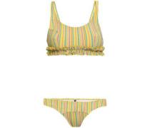 Ruffle-trimmed Striped Seersucker Bikini Yellow