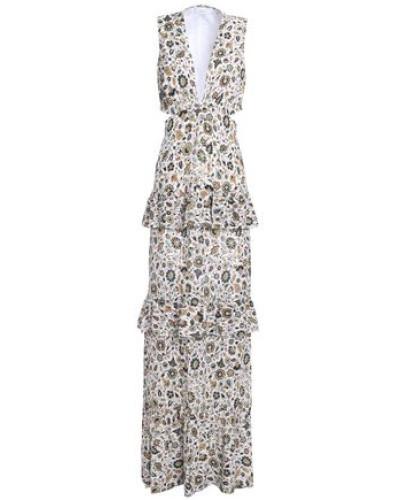 Cutout ruffle-trimmed printed crepe maxi dress