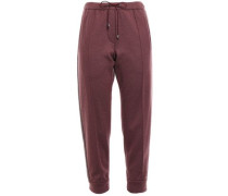 Cropped Bead-embellished Cashmere Track Pants Grape