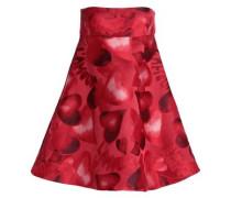 Strapless Flared Jacquard Mini Dress Red