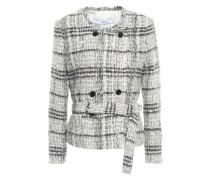 Double-breasted Metallic Bouclé-tweed Jacket Ecru