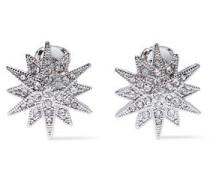 Silver-tone Crystal Clip Earrings Silver Size --