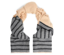 Striped two-tone intarsia-knit scarf