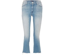 Frayed High-rise Bootcut Jeans Mid Denim