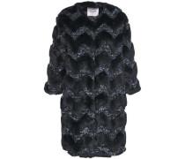 Metallic Tweed-paneled Faux Fur Coat Storm Blue