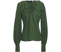 Ruched Twill Blouse Forest Green