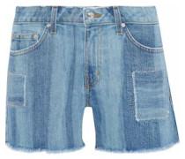 Liv faded patchwork denim shorts