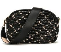 Braid-trimmed woven leather shoulder bag
