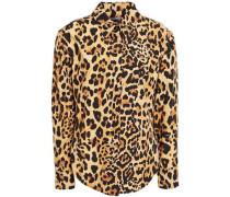 Woman Bow-detailed Leopard-print Cotton-blend Poplin Shirt Animal Print