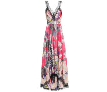 Lace-trimmed Printed Silk Maxi Dress Multicolor