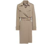 Woman Belted Stretch-cady Trench Coat Beige