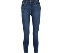 High 10 Cropped Two-tone Mid-rise Skinny Jeans Mid Denim  3