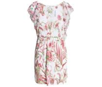 Floral-print linen-blend coverup