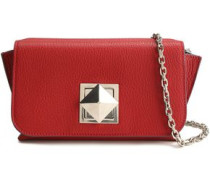 Pebbled-leather Shoulder Bag Claret Size --
