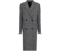 Double-breasted wool-blend tweed coat