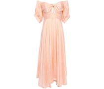 Unearthed Off-the-shoulder Knotted Crinkled Silk-crepe Midi Dress Peach